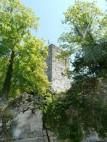 Blick auf den Bergfried der Burg Pappenheim